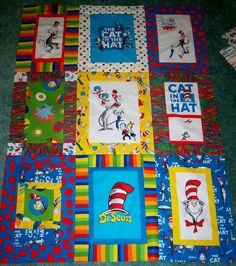 5ec7ecc5 I spent two days putting together the cat in the hat quilt. I used the  panel and half yard fabric.