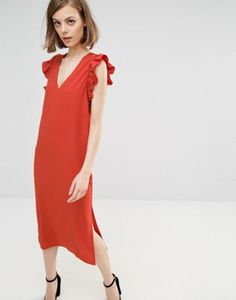 Lost Ink Midi Dress With Frill Sleeve