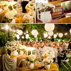 The colors, the lights, an outdoor reception looks pretty appealing!