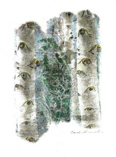 Aspen Eyes 3, 2008, by Carol Hummel (www.carolhummel.com) The eyes of the Aspen trees are beautiful and mysterious. This work on paper is one in a series created during my Colorado Art Ranch residency in Steamboat Springs.