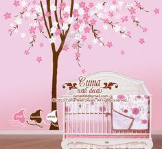 Perfect Kirschbl te Wand Aufkleber Baum Wandtattoo Blume Vinyl Wand Aufkleber Vogelk fig Wand Wandbild Kinderzimmer Wand Aufkleber Natur