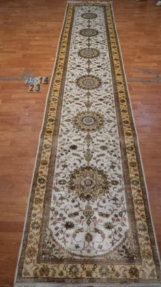 "2'6""x14' Runner Hand-knotted 200 kpsi Silk Oriental Persian Tabriz Rug 9455"