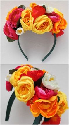 How To: Frida Kahlo inspired Floral Headband Cinco de Mayo costume Party Mottos, Mexican Fiesta Party, Mexican Theme Parties, Mexico Party Theme, Mexico Party Decorations, Frida Kahlo Party Decoration, Mexican Party Favors, Fiesta Party Favors, Thinking Day
