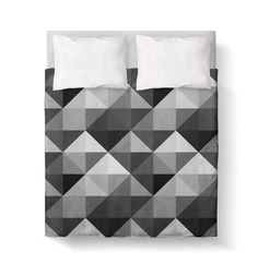 black grey and white triangle geometric duvet cover comforter cover 3 sizes available king queen twin bedding made to order