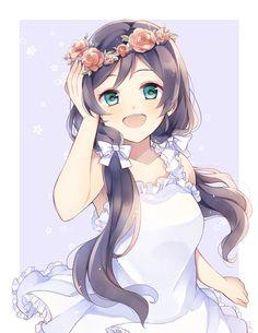 kawaii anime girl with a flower crown