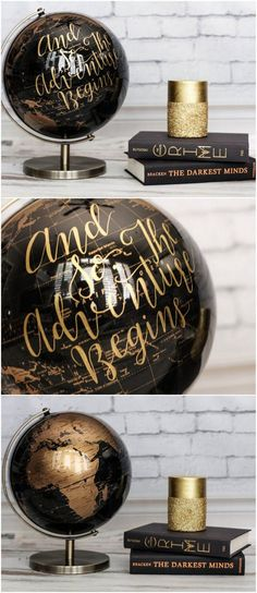 Customize a World Globe. One of our fave travel themed wedding ideas is a custom wedding globe wedding that can be used as the centerpiece of your card and gift table. You could use multiple globes with unique names written on them in place of regular table numbers, placing on each table to help guests find their seats. This black and gold beauty is available from SimplyGypsyDesigns. Get more ideas here: http://www.confettidaydreams.com/travel-themed-wedding-idea