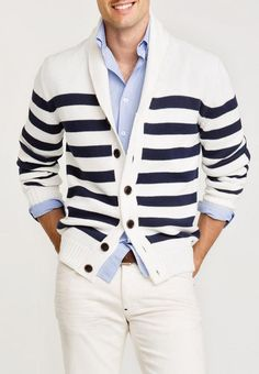 Nautical stripes over thick, blue shirt. Fun,  casual, classy. Like geometry class.