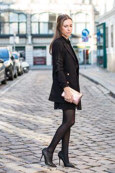 NYE Glitz & Glam - Kati wearing an Edited the Label Blazer, BCBGeneration Dress, Moschino Clutch and Buffalo Heels.