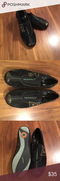 Merrill Barrado Slip On Shoes Black suede with metallic gold trim. Zip opening. Like new. Merrell Shoes Athletic Shoes