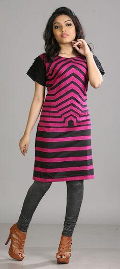 Cotton Printed Kurti in pink & majenta look.