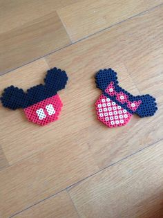 Mickey+Mouse+Perler+Beads+Pattern | Mickey and Minnie Perler Bead Design by 8BitInnovations on Etsy
