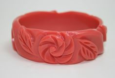 French Bakelite Galalith Carved Bangle Coral by OldVintageShoppe, $72.00