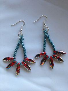 Czech Dagger Beaded Earrings on Etsy, $20.00