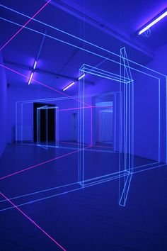 "Jeongmoon Choi, Room in room, 80 sqm space, threads, black lights   Exhibition ""RAPID RABBIT"" / Frise Künstlerhaus, Hamburg , 2011"