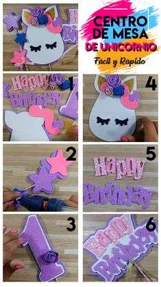 Kids Birthday Crafts, Birthday Diy, Birthday Party Decorations, Diy Cake Topper, Unicorn Cake Topper, Flamingo Birthday, Mickey Mouse Birthday, Diy Unicorn Party, Diy Wooden Projects