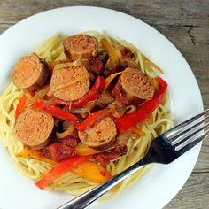 The Stay At Home Chef: Italian Sausage and Pepper Pasta....Tasty and little spicy.  Used elbows instead of spaghetti.  Girls were fans, maybe cut peppers smaller next time so they aren't as noticable.