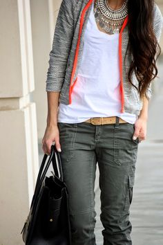 "xoxo cleverly, yours: laid back. asos tee // abercrombie cargos (old - similar, similar) asos jacket (similar, similar) // j.crew espadrilles // j.crew belt celine tote (love this & this) // aviators here & here st. eve ""grand bazaar"" necklace c/o"