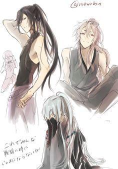 Ponytail or long hair gang! Anime Ponytail, Cool Anime Guys, Cute Anime Boy, Anime Boys, Touken Ranbu Characters, Anime Characters, Character Inspiration, Character Design