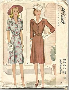 McCall 5292 ©1943, makes a shirtwaist style dress with or without a collar. Front yoke. Front buttoning. V neckline. Short or three-quarter sleeves