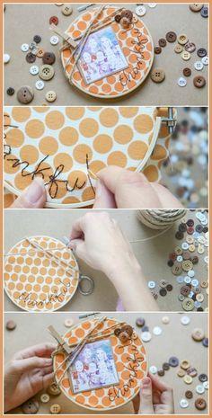 Thankful Embroidery, make a diy Thanksgiving Craft - Sugar Bee Crafts