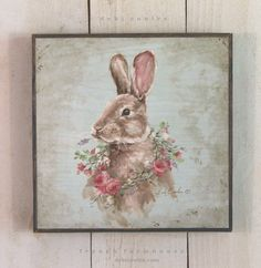 French Farmhouse Bunny with Rose Wreath - Debi Coules Romantic Art