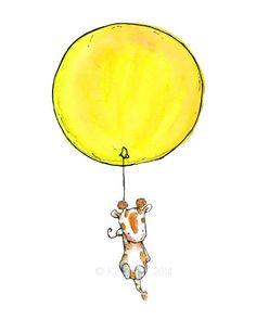 Kinder KunstGiraffe BallonKunstdruck