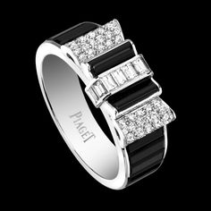 White gold Spinel Diamond Ring. Limelight ring in 18K white gold set with 54 brilliant-cut diamonds (approx. 0.39 ct), 8 baguette-cut diamonds (approx. 0.24 ct) and 12 baguette-cut black spinels. $36,000