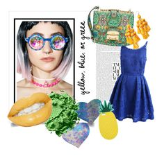 """""""Yellow, Blue, or Green"""" by egaemgyu on Polyvore featuring Chicwish, Miu Miu, GloFx, Pastease, Kate Spade, Miss Selfridge and yellowblueorgreen"""
