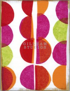 Colorful cut paper collage with half circles by Lynn Giunta