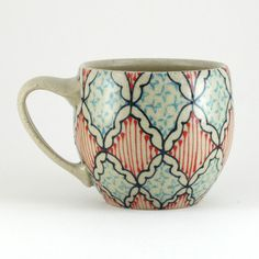 Ceramic Teacup Coffee Mug with Navy Red and by dawndishawceramics, $36.00