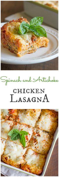 Spinach and Artichoke Chicken Lasagna with three easy shortcuts! Made with La Terra Fina's dip!