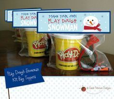 WHAT YOU GET: The cutest design for making your own Play Dough Snowman kits. Download includes 8.5 x 11 sheet with two printable Play Dough #appreciationgifts