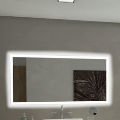 Found it at Wayfair - Rectangle Backlit Bathroom / Vanity Wall Mirror Backlit Bathroom Mirror, Lighted Vanity Mirror, Floor Mirror, Beautiful Mirrors, Cool Mirrors, Wall Mirror Online, Modern Contemporary Bathrooms, Modern Bathroom, Bathing