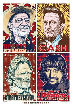 The Highwaymen (Willie Nelson, Johnny Cash, Kris Kristofferson, Waylon Jennings) Country Music Artists, Country Music Stars, Country Songs, Country Musicians, Country Quotes, Rock Posters, Concert Posters, Music Posters, Kinds Of Music