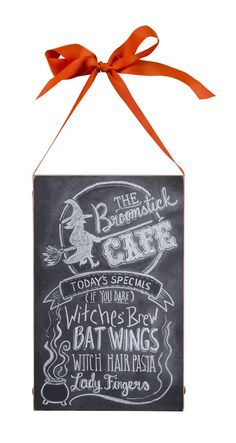 Broom Stick Cafe Chalk Sign. Halloween Witch Chalk Sign. THE Broomstick CAFÉ TODAY'S SPECIALS (IF YOU DARE) Witches Brew BAT WINGS WITCH HAIR PASTA Lady Fingers