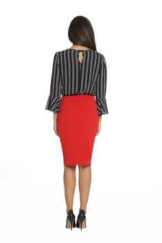 RED STRIPPED DRESS Stripped Dress, Coat Sale, Timeless Design, Flare Dress, Luxury Branding, Dresses For Sale, Cold Shoulder Dress, Fall, Long Sleeve