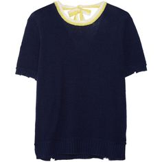 Prada Wool and cashmere-blend sweater (4,180 CNY) ❤ liked on Polyvore featuring tops, sweaters, round top, wool sweaters, blue top, cashmere blend sweater and blue sweater