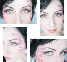Fairy eyes Halloween makeup! Deep pink eyeshadow, some shimmer shadow on hilights, non-toxic watercolor pencils to draw the swirls, add some glitter eyeliner to swirls and around eyes.