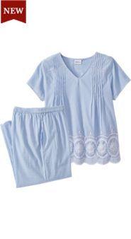 Womens Eyelet Stripe Pajamas