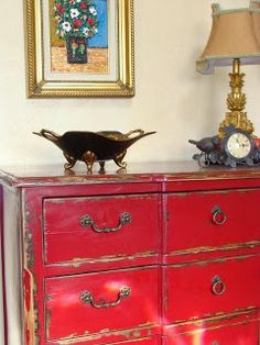 Red Dresser Design, Pictures, Remodel, Decor and Ideas Red Painted Furniture, Chalk Paint Furniture, Refurbished Furniture, Furniture Makeover, Vintage Furniture, Home Furniture, Red Distressed Furniture, Distressed Dresser, Laminate Furniture