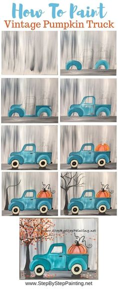 """How To Paint A Vintage Pumpkin Truck"""" Learn how to paint this absolutely adorable teal vintage truck with a pumpkin in the back! Beginners can learn how to do this with acrylic paints on an x stretched canvas This painting is super eas - # Diy Canvas, Canvas Art, Painting Canvas, Canvas Ideas, Painted Canvas Diy, How To Paint Canvas, Halloween Canvas Paintings, Acrylic Canvas, Step By Step Painting"""