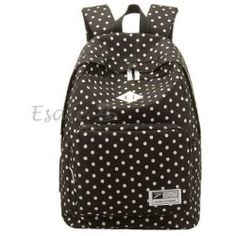 Women Backpack Rucksack Laptop Bag Schoolbag Student Travel Dots Black