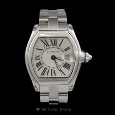 Ladies Stainless Steel Watch Cartier Roadster w/ Roman Numeral Dial