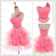 Pink Bowknot Multilayers Ball Gown Oneshoulder by LovelyDresses17, $159.99
