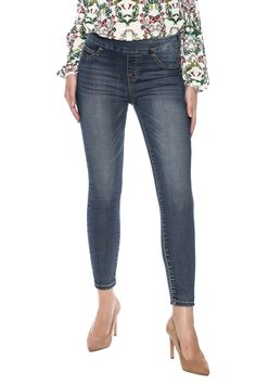 Medium wash pull on denim jean with an elastic waistband, ankle crop length and 5 pocket styling.    Distressed Jean by Tribal Jeans. Clothing - Bottoms - Jeans & Denim - Jeggings Clothing - Bottoms - Jeans & Denim - Skinny Saratoga, Wyoming