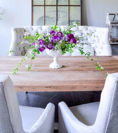 Spring Brunch Entertaining & A White Vase Challenge White Vases, Dining Table, Dining Rooms, Dining Area, Spring Home, Elegant Homes, Seasonal Decor, Floral Arrangements, Flower Arrangement