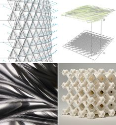 SKIN Digital Fabrication Competition Announces Four Finalists  First Round Finalist in the SKIN Competition: Cellular Complexity, Sense, Project 2XmT, Robot Assisted Sheet Metal Shaping (clock-wise from top left)