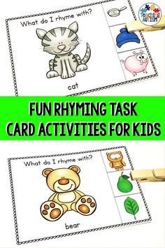 Are you looking for some fun and engaging rhyming activities to use with your students? These task cards are perfect for students to work on their rhyming skills. Works great with Kindergarten, EYFS, Special Education and Autism classrooms. Rhyming Activities, Word Work Activities, Autism Activities, Activities For Kids, Autism Resources, Classroom Activities, Teaching Resources, Autism Teaching, Autism Classroom