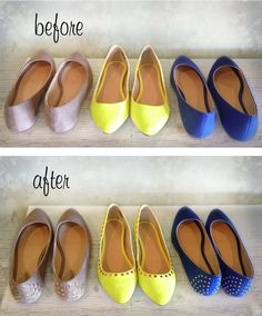 DIY Studded Flats with brads for scrapbooking
