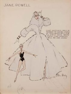 Moss Mabry costume sketch of Jane Powell for Three Sailors and a Girl signed by Jane Powell, 1953.
